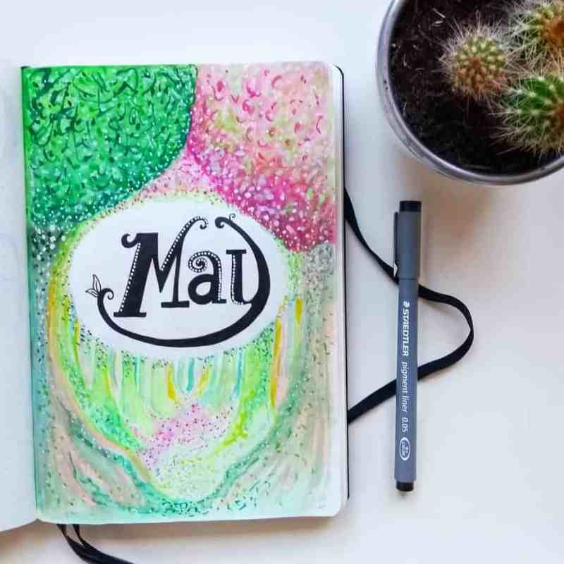 Fun flowery forest cover page by @cissmophy I love how this May cover page gives off a spring in the forest vibe. The font choice is really unique, too. #bulletjournal