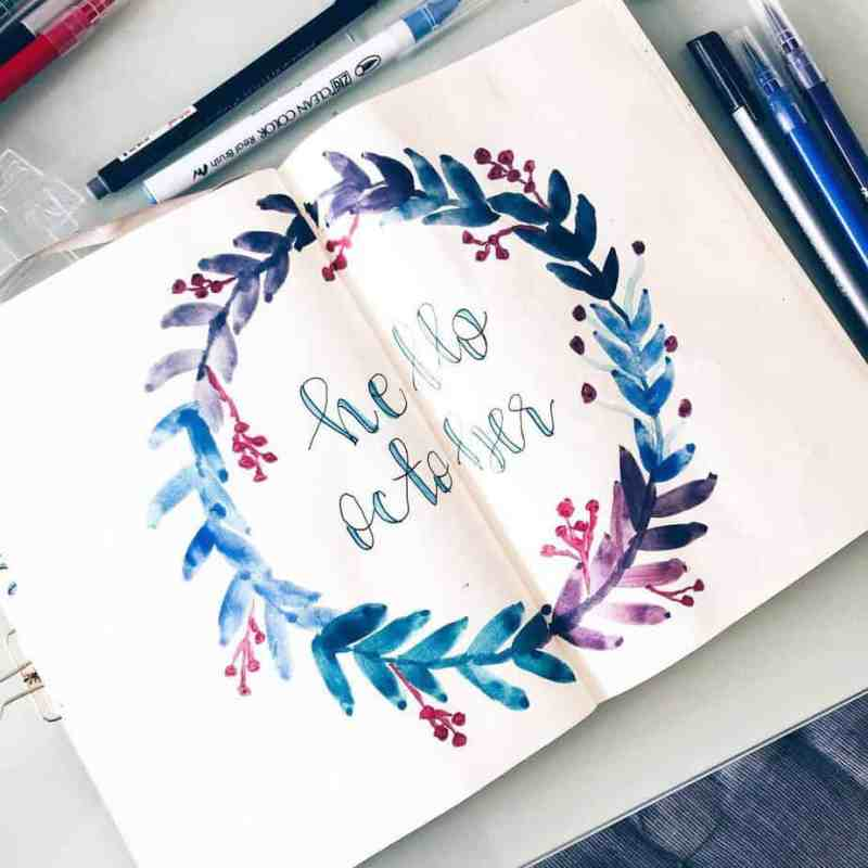 Magical watercolor page from @berrymixbujo I can't get enough of this Hello October cover page from Sheva. The watercolor gives it a very magical appearance.