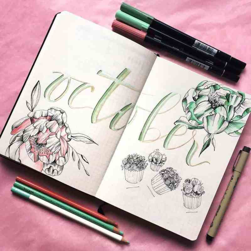 Beautiful treats and flowers from @dolceartist I love this sweet floral spread. The black and white doodles are beautiful for the sweets, and the flowers have nice pops of color. #bulletjournal