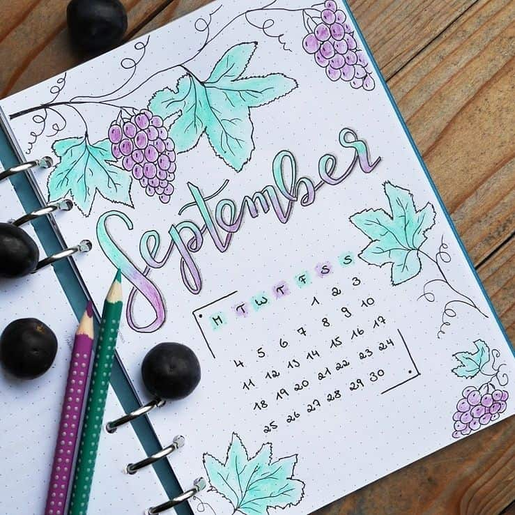 Love this 'grape' cover page by @seras.bullet.journal This fun fruit themed cover page is great for any month of the year. Love the softer colors of the colored pencils coloring in the drawings. #bulletjournal