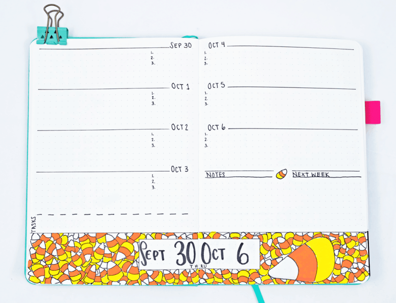 Bullet journal weekly spread with candy corn