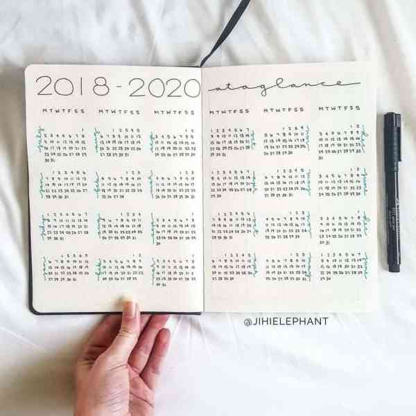 Bullet journal yearly overview for 2018-2020