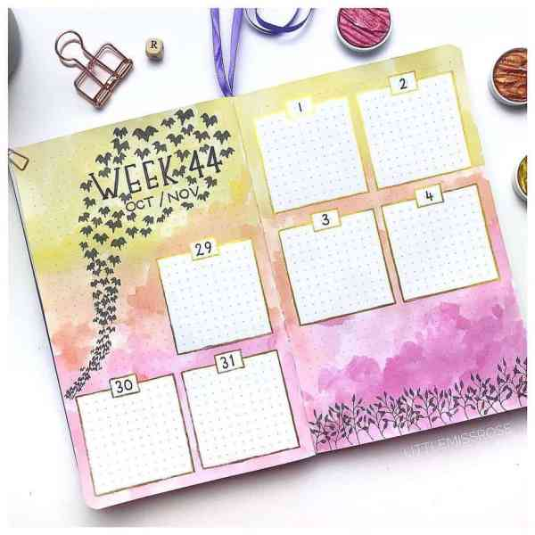 Decorative bullet journal weekly layout with watercolor background