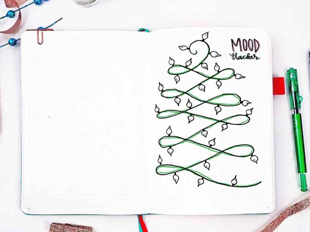 Bullet journal holiday theme December mood tracker