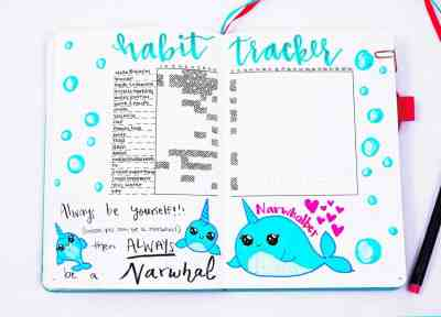 Narwhal quotes and doodles habit tracker