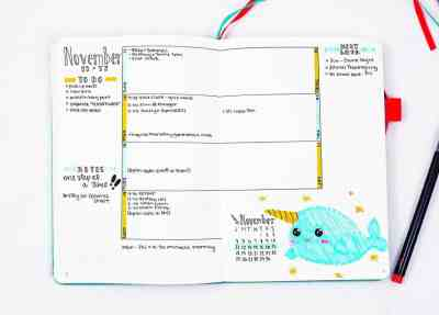 Narwhal theme cartoon doodle bullet journal layout