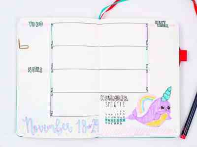 Narwhal bullet journal weekly layout
