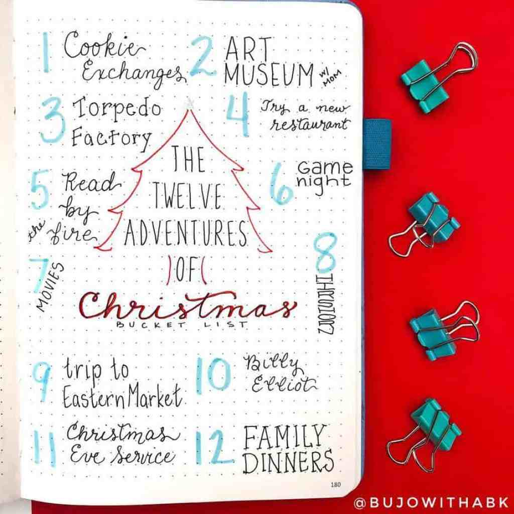 bujowithabk holiday theme collection bullet journal spread