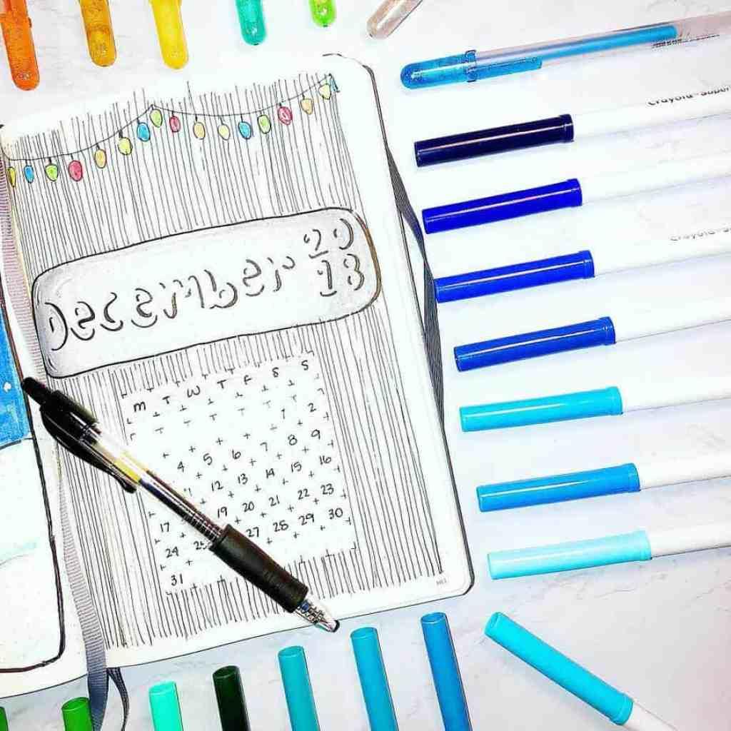 kaylaashleyplans bullet journal monthly calendar