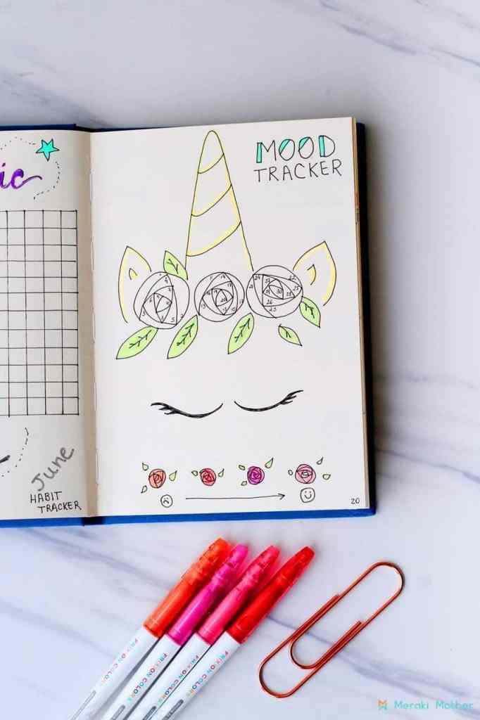 Unicorn horn bullet journal mood tracker