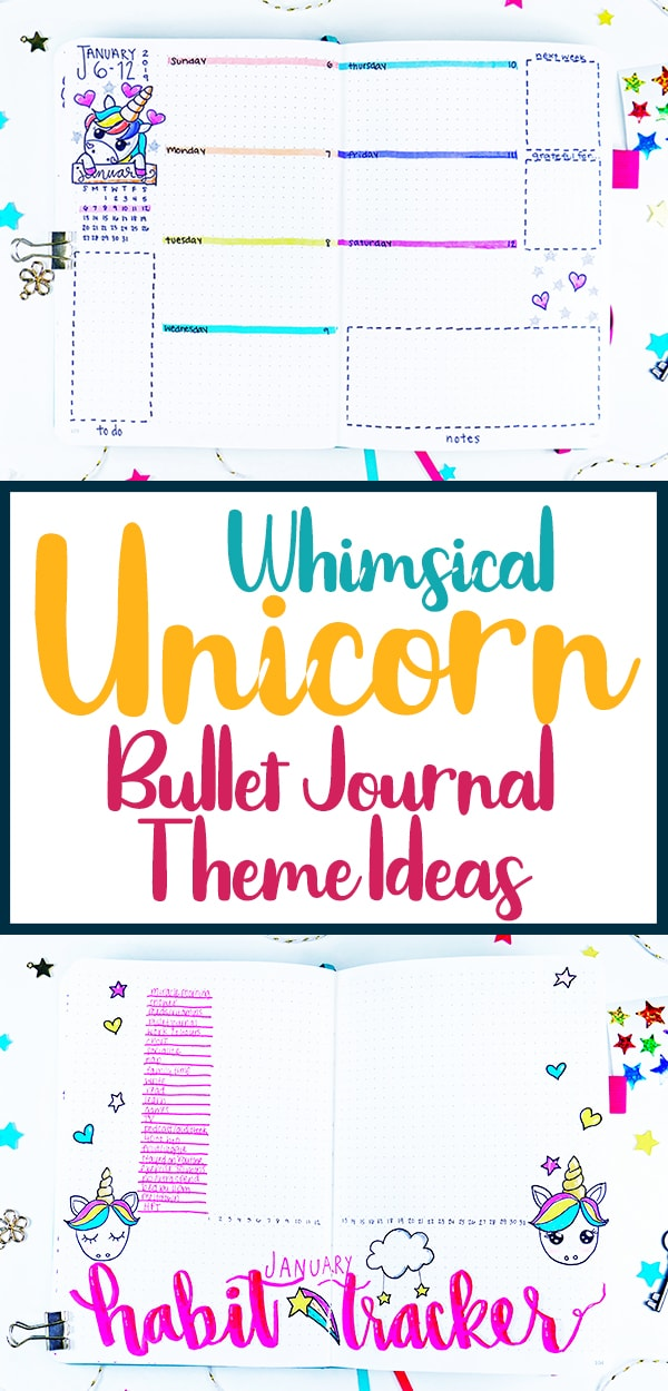 Black border whimsical unicorn bullet journal theme ideas pin for Pinterest.