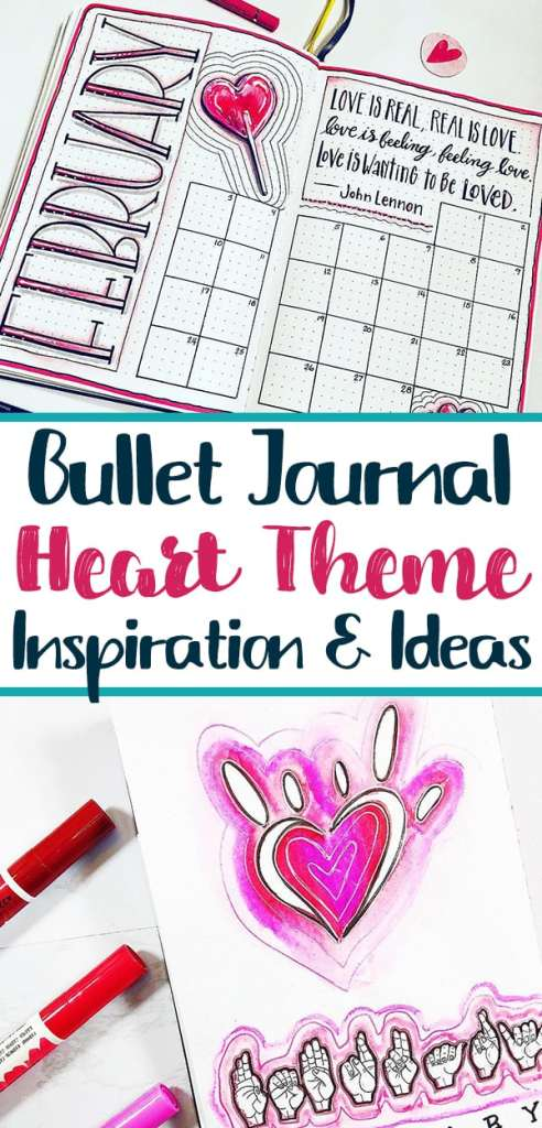 Plan with me bullet journal heart theme layouts.