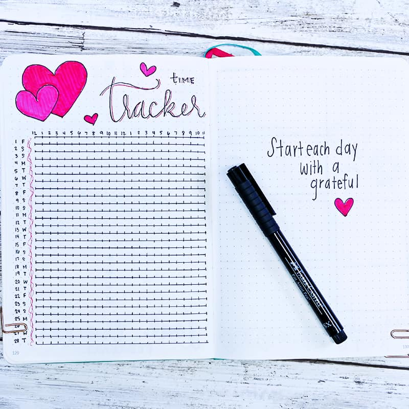 Bullet journal layout ideas for February and heart themes