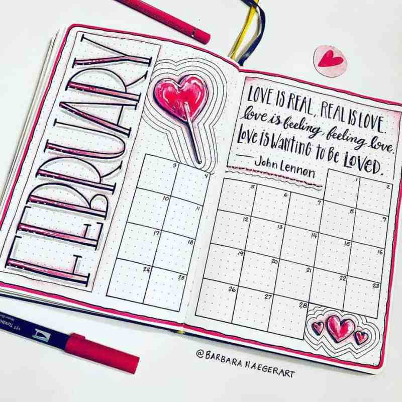 February bujo calendar with a heart sucker doodle and heart quotes