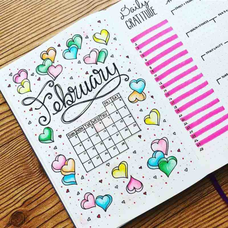 February monthly calendar with candy colored hearts