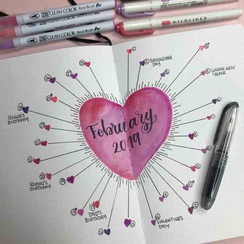 Unique bullet journal calendar layout with hearts