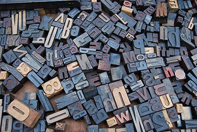 Pile of alphabet stamps