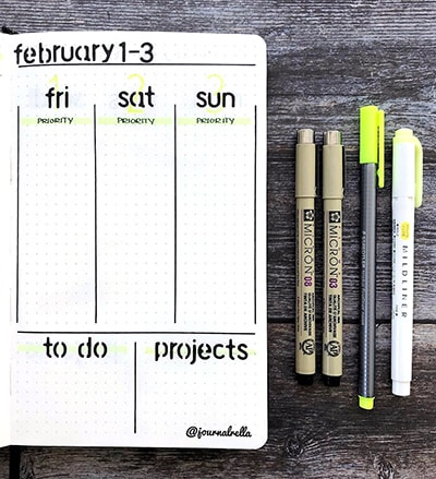 Bullet journal stamps in a weekly calendar