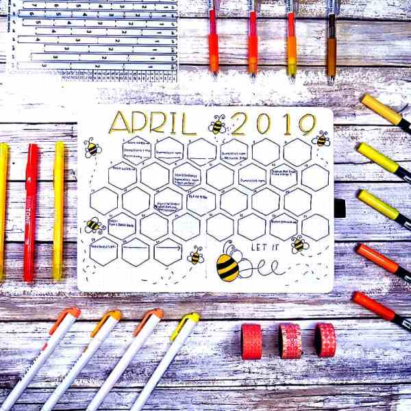 Monthly bee theme with hexagons