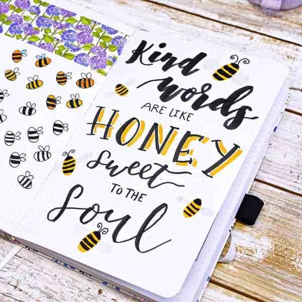 Bee quote bullet journal