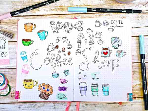 coffee doodles bullet journal inspiration