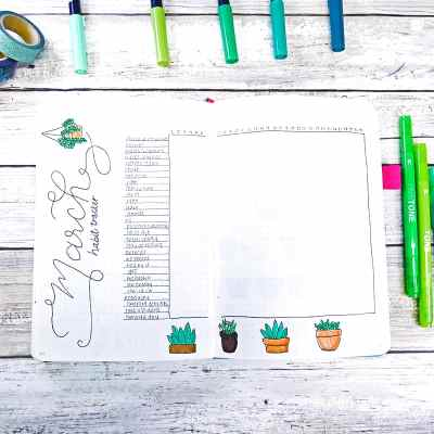 Plant theme habit tracker bullet journal spread.