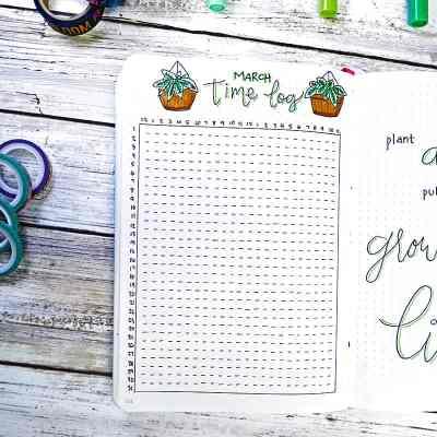 Bullet journal plant doodle time log