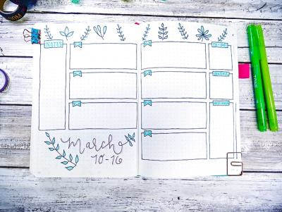 Bullet journal simple plant doodles for weekly layout.