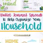 Bullet journal cleaning spreads and home organization layouts