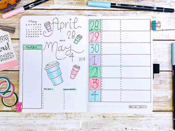 april may bullet journal coffee mug weekly