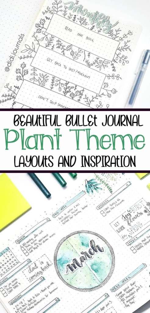 Gorgeous houseplant bullet journal layout ideas.