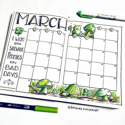 March calendar with plant and mushroom doodles.