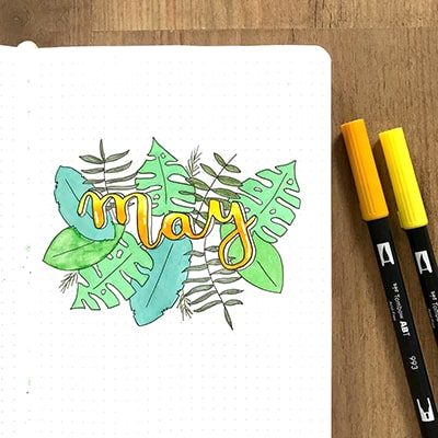 May bullet journal cover with background plant art.