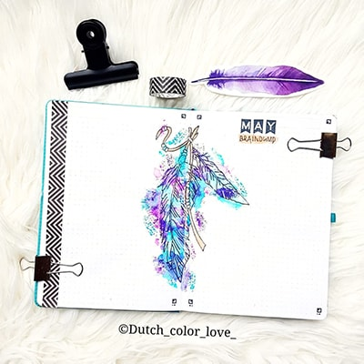Feather bullet journal layout spread