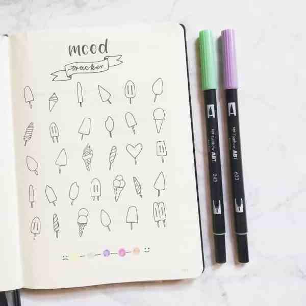 ice cream mood tracker spread bullet journaling