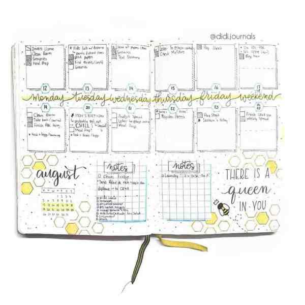 Weekly bee spread bullet journaling ideas