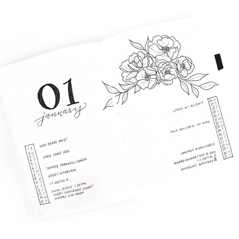 Monthly layout with flower design