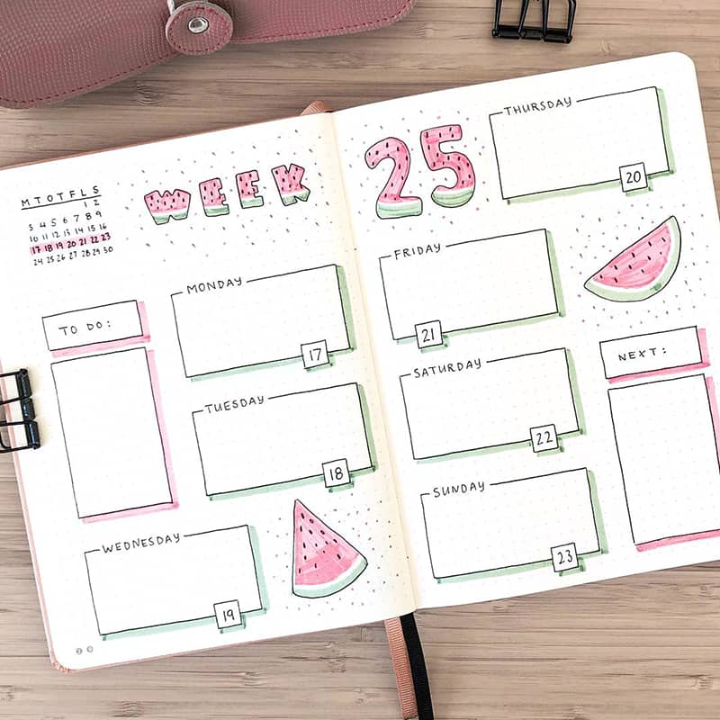 Watermelon Week 25 bujo layout
