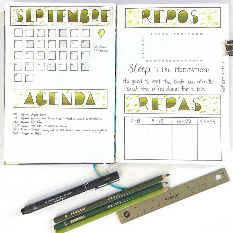 Green and gold bujo theme colors