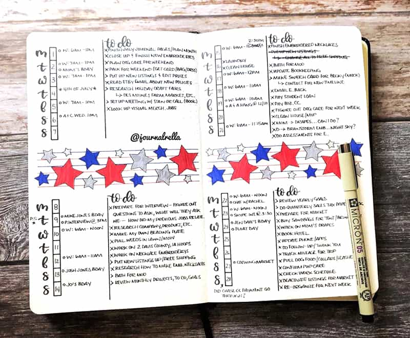 Star patriotic weekly spread