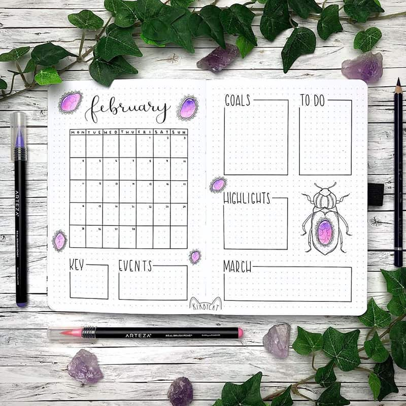 Beetle and bug monthly layout