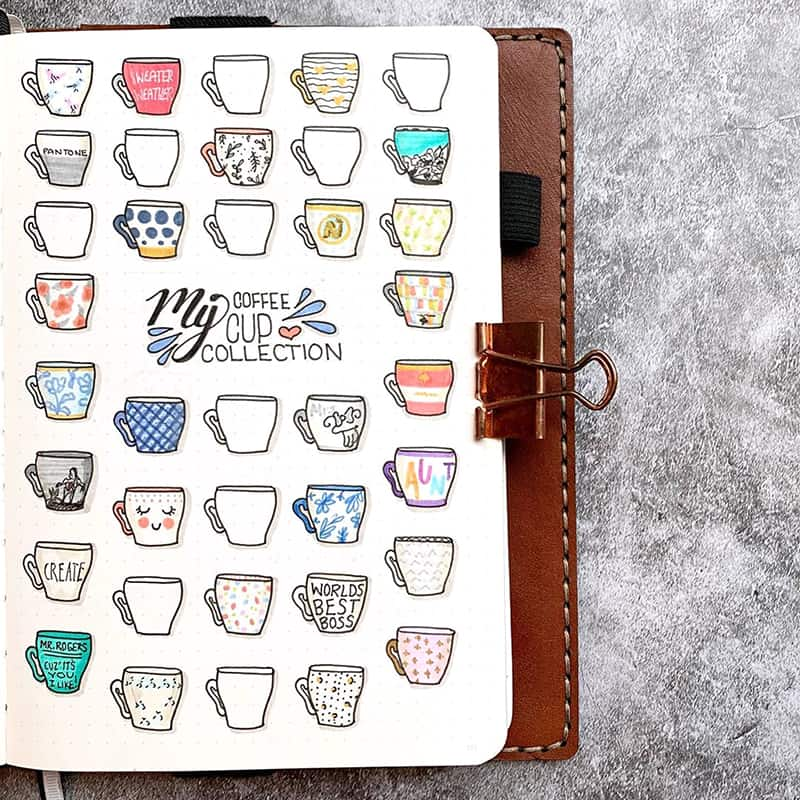 Coffee cup collection bullet journaling