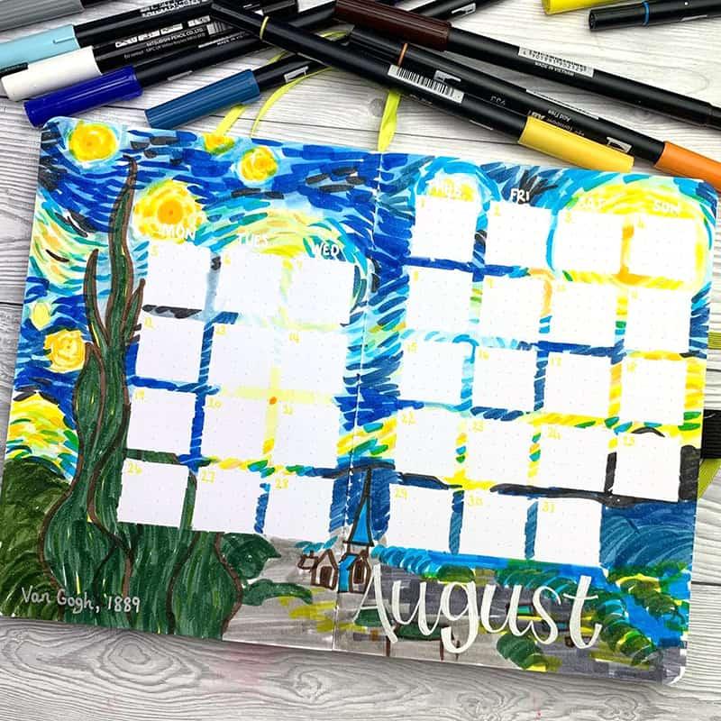Starry night monthly calendar