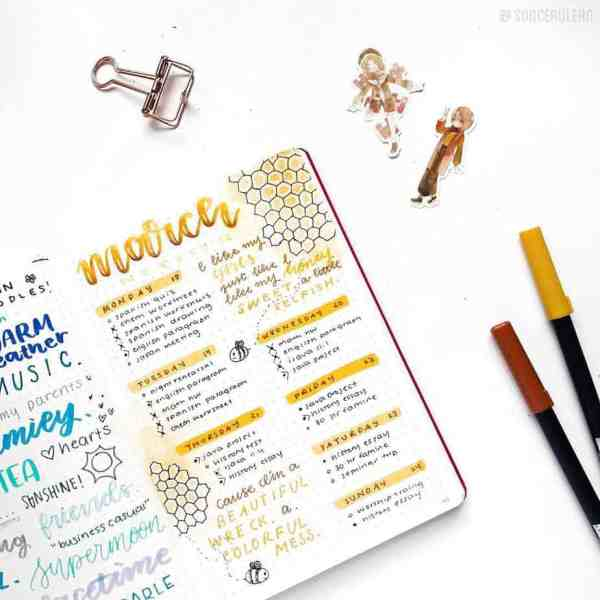 Honeycomb bullet journal page