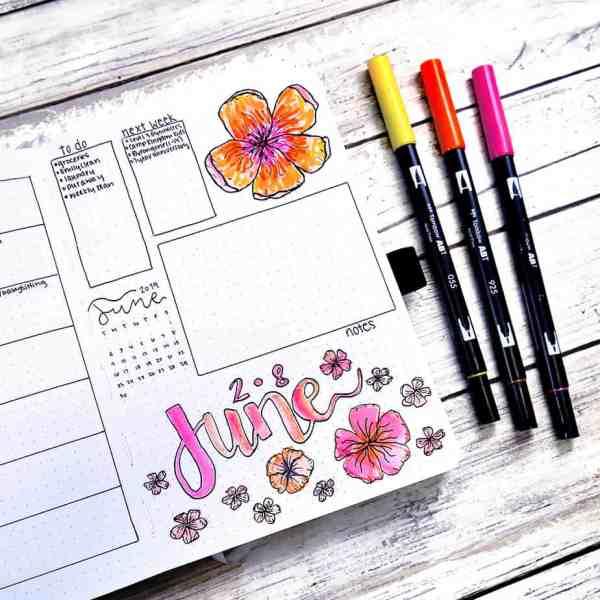 bullet journal floral archer and olive notebook