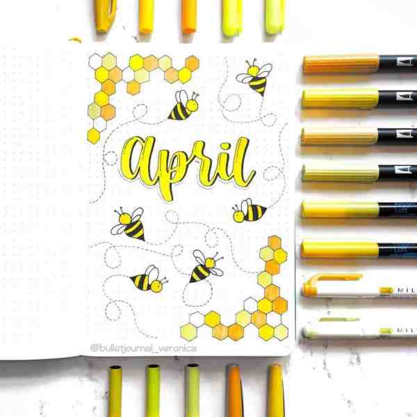 Bee doodles for April bullet journal cover page