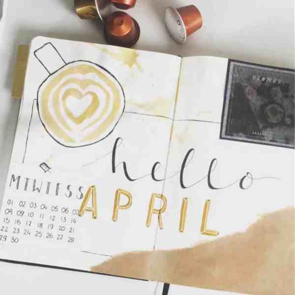 Coffee art april bullet journal cover page