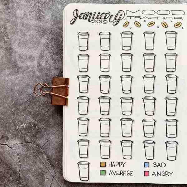 January bullet journal coffee mug mood tracker
