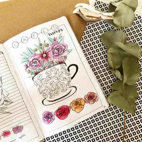 floral bullet journal coffee tracker