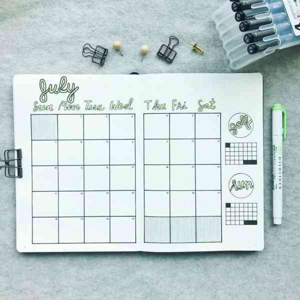 July monthly layout minimalist